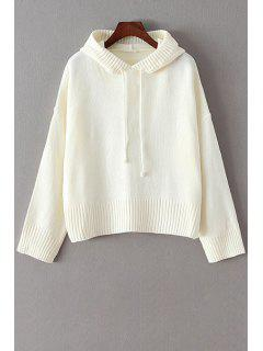 Hooded Solid Color Long Sleeve Sweater - White