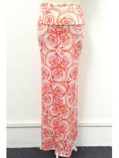 Packet Buttocks Full Floral Maxi Skirt - Pink L