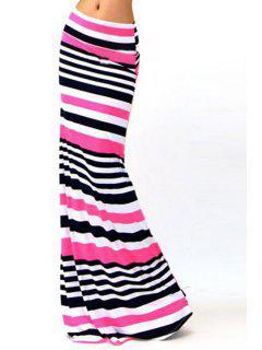 Packet Buttocks Striped Maxi Skirt - Xl