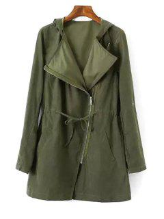 Pure Color Hooded Long Sleeve Trench Coat - Army Green M