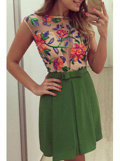 Organza Spliced See-Through Dress - Green M