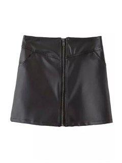 Black A Line PU Leather Skirt - Black L