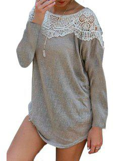 Scoop Neck Lace Splicing Openwork Long Sleeve Dress - Gray S