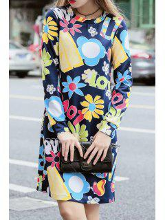 Full Flower Print Round Neck Long Sleeve Dress - Deep Blue L