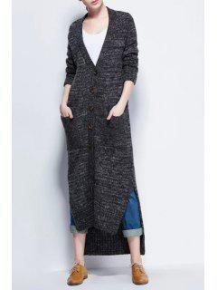 High Low Plunging Neck Long Sleeve Maxi Cardigan - Deep Gray
