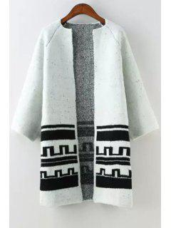Jewel Neck Black Stripe Pattern Cardigan - White And Black S