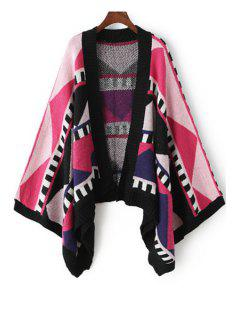 Collarless Color Block Geometric Pattern Cardigan - Red