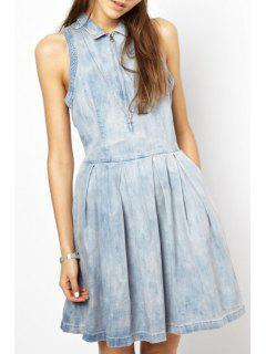Denim Turn Down Collar Sleeveless Flare Dress - Light Blue L