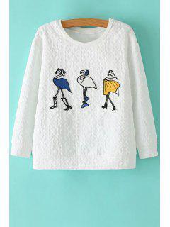 Round Neck Cartoon Pattern Sweatshirt - White S