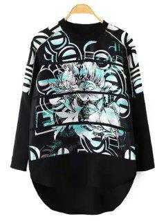 Abstract Print High Low Sweatshirt - Black L