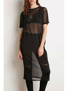Jewel Neck See-Through Short Sleeve Dress - Black M