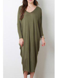 Long Sleeve Baggy Style Dress - Blackish Green M