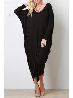 Long Sleeve Baggy Style Dress - Black Xl