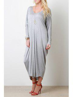 Long Sleeve Baggy Style Dress - Gray S