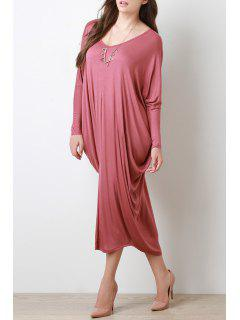 Long Sleeve Baggy Style Dress - Red L