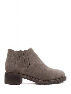 Solid Color Elastic Suede Ankle Boots - Camel 39