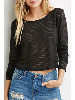 See-Throught Stripe Long Sleeve T-Shirt - Red L