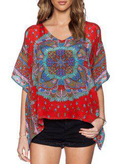 Bohemian Print V Neck Half Sleeve Blouse - Red S