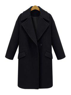 Lapel Pocket Design Wool Coat - Black 5xl