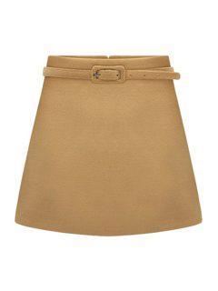 Solid Color Belt Skirt - Camel 2xl