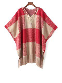 Tartan Plaid V-Neck Loose-Fitting Cape Sweater - Red
