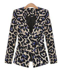 One Button Leopard Plus Size Blazer - Black 3xl