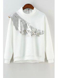 Wing Print Stand Collar Long Sleeves Sweatshirt - White L