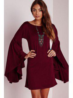 Solid Color Scoop Neck Bell Sleeve Dress - Wine Red Xl