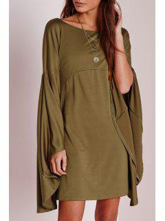 Solid Color Scoop Neck Bell Sleeve Dress - Army Green L