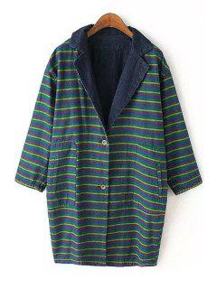 Striped Reversible Turn-Down Collar Trench Coat - Green M