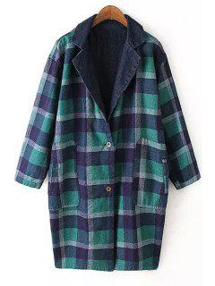 Plaid Reversible Turn-Down Collar Trench Coat - Blue And Green L