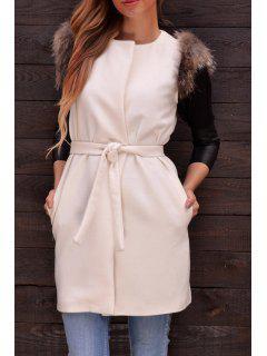Faux Fur Embellished Sleeveless Waistcoat - White L