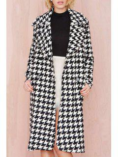 Houndstooth Lapel Long Sleeves Coat - Black 2xl