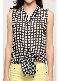 Polka Dot Print Stand Neck Sleeveless Shirt - White And Black Xs