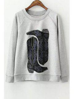 Boots Pattern Long Sleeve Sweatshirt - Gray S