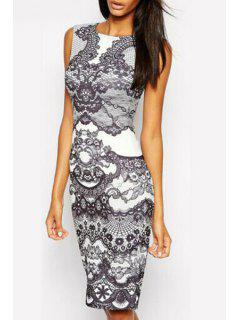 Sleveless Vintage Floral Bodycon Dress - White And Black M