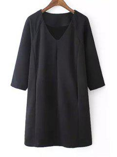 Black V Neck 3/4 Sleeve Dress - Black S