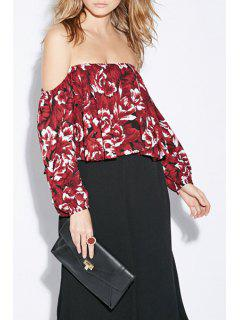 Slash Neck Floral Print Long Sleeve Blouse - Dark Red 2xl