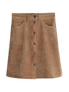 Corduroy High Waisted A Line Skirt - Bronze-colored L