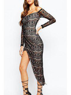 Slash Neck Asymmetrical Lace Long Sleeve Dress - Black L