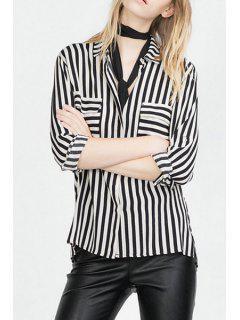 Striped Turn Down Collar Long Sleeve Shirt - White And Black Xl