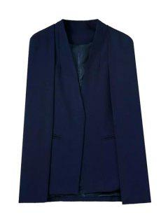 Solid Color V-Neck Long Sleeves Cape Blazer - Purplish Blue M