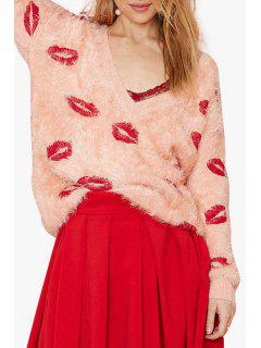 Plunging Neck Red Lips Pattern Long Sleeve Sweater - Pink L