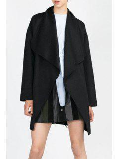 Large Lapel Collar Pocket Wool Coat - Black L