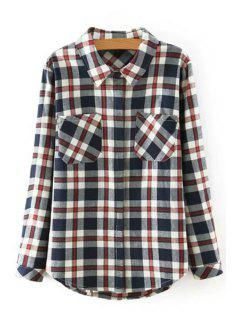 Long Sleeve Plaid Shirt - L