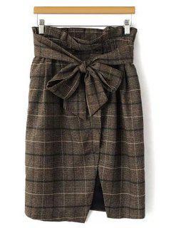 Plaid Bowknot Midi Skirt - Khaki S