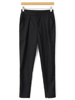 Solid Color Narrow Feet Ninth Pants - Black M