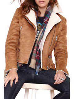 Funnel Collar Fleece Lining Suede Jacket - Brown 2xl