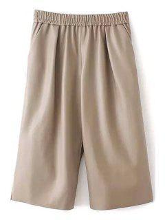 Wide Leg High-Waisted Elastic 3/4 PU Leather Pants - Yellowish Pink L