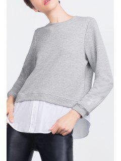 Spliced Round Collar Long Sleeves Sweatshirt - Gray S